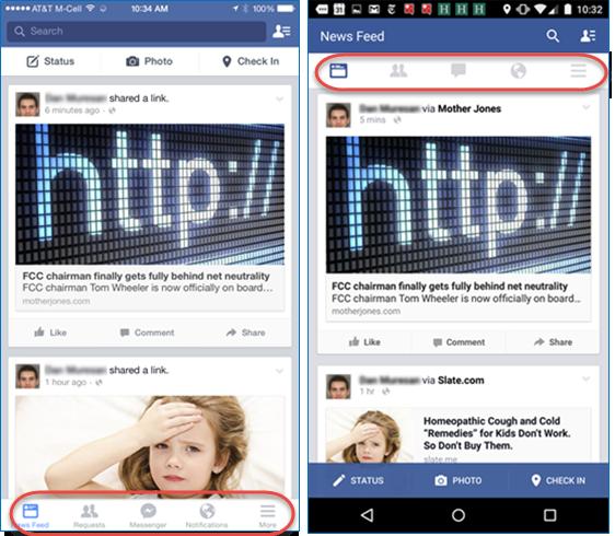 Facebook's Mobile Navigation Menu