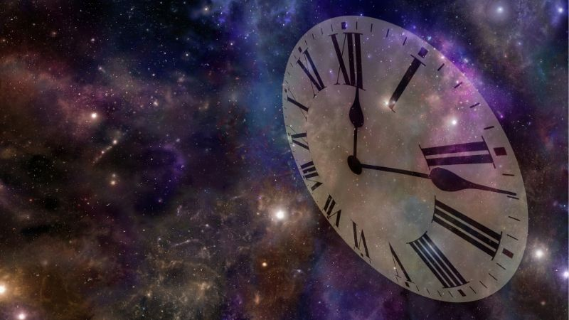 clock face floating in outer space